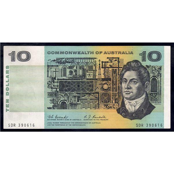 "AUSTRALIA $10. 1967. Coombs-Randall. RARE 1ST PREFIX ""SDR"""
