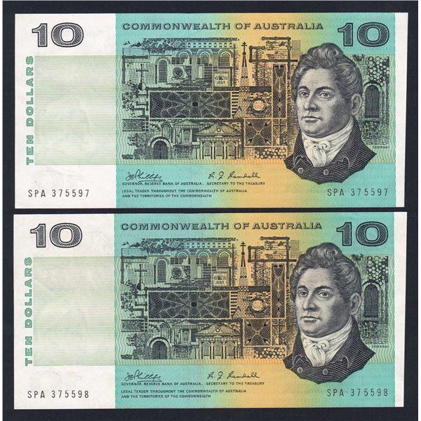 "AUSTRALIA $10. 1968. Phillips-Randall. WORD PREFIX ""SPA"" CONSECUTIVE PAIR"