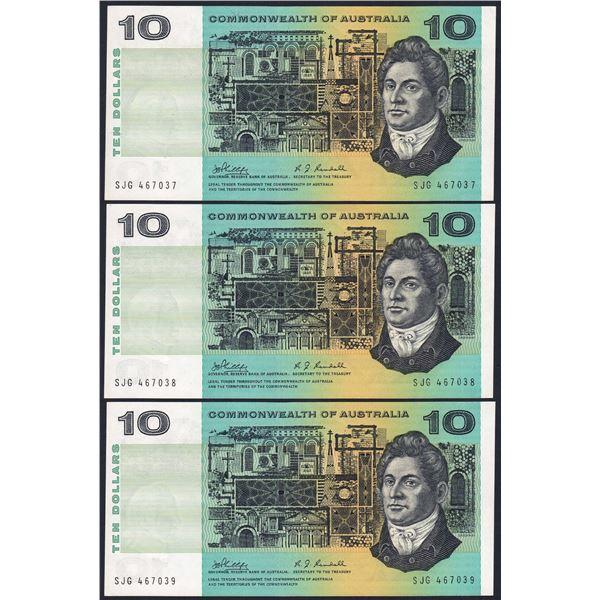 AUSTRALIA $10. 1968. Phillips-Randall. CONSECUTIVE TRIO