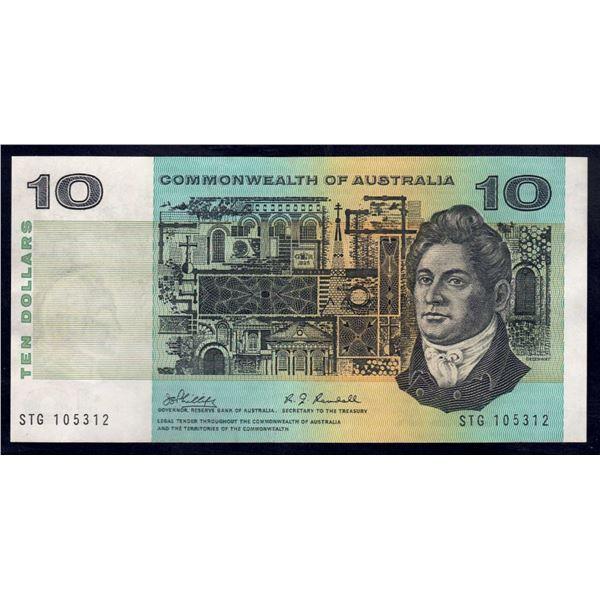 "AUSTRALIA $10. 1968. Phillips-Randall. SCARCE LAST PREFIX ""STG"""