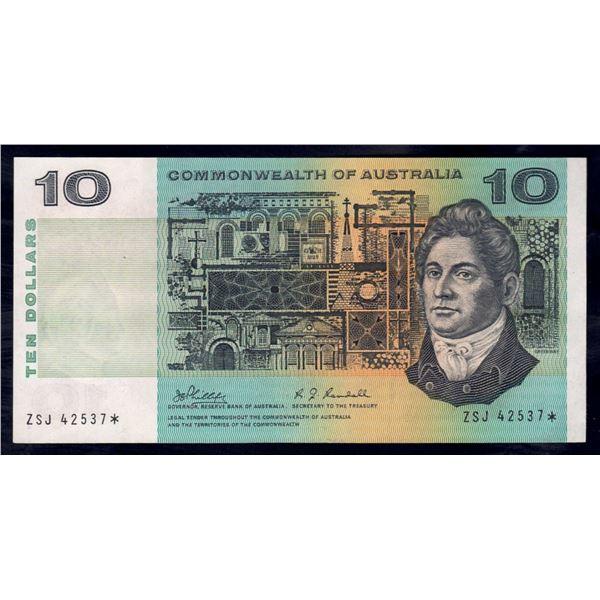 "AUSTRALIA $10. 1968. Phillips-Randall. RARE STAR* REPLACEMENT Last Prefix ""ZSJ"""