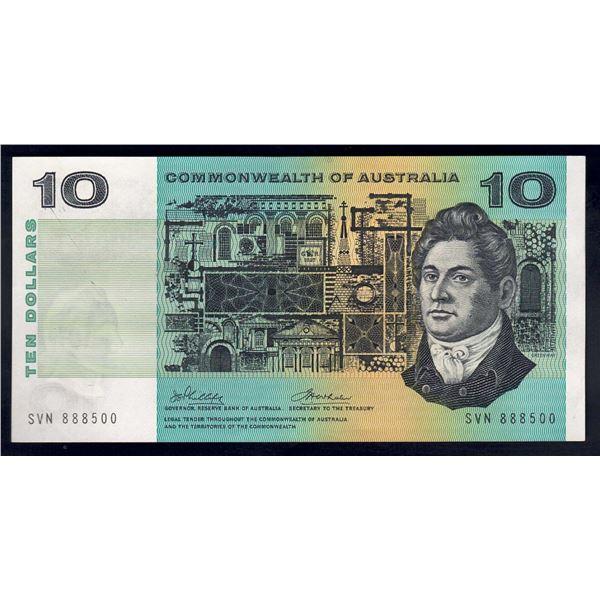 """AUSTRALIA $10. 1972. Phillips-Wheeler. SCARCE LUCKY SERIAL NUMBER """"888"""""""