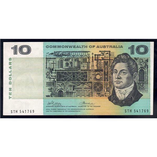 "AUSTRALIA $10. 1972. Phillips-Wheeler. RARE 1ST PREFIX ""STH"""