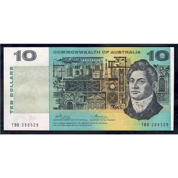 "AUSTRALIA $10. 1972. Phillips-Wheeler. SCARCE LAST PREFIX ""TBB"""