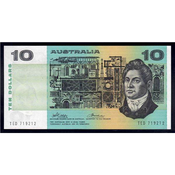 "AUSTRALIA $10. 1974. Phillips-Wheeler. NAME PREFIX ""TED"""