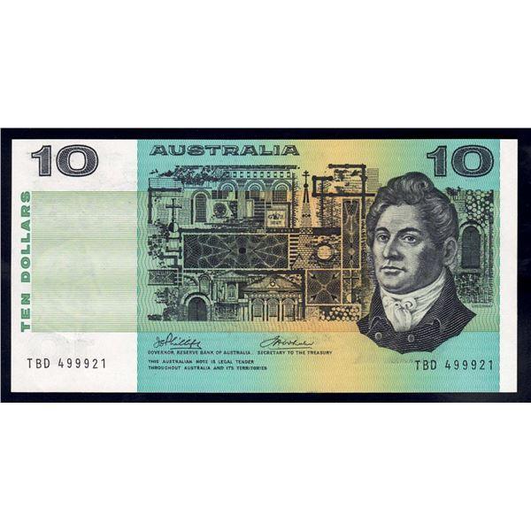 "AUSTRALIA $10. 1974. Phillips-Wheeler. 2ND PREFIX ""TBD"" + LUCKY SERIAL NO ""999"""