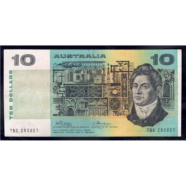 """AUSTRALIA $10. 1974. Phillips-Wheeler. RARE 1ST PREFIX """"TBC"""""""