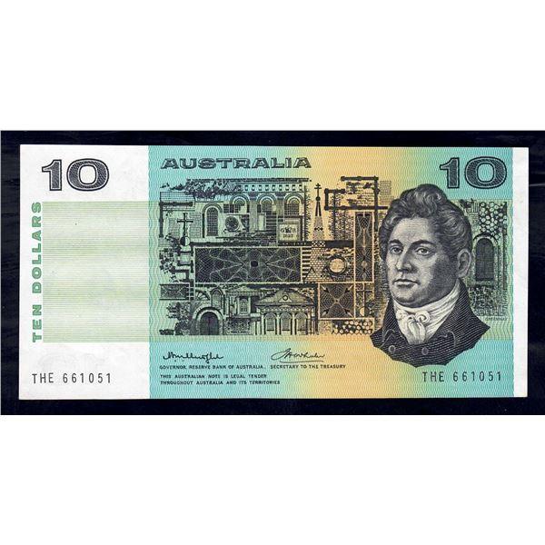 "AUSTRALIA $10. 1976. Knight-Wheeler. Centre Thread. WORD PREFIX ""THE"""