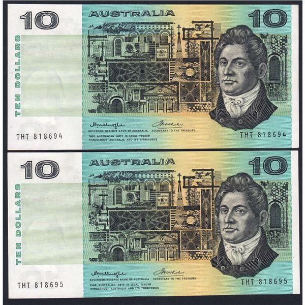 AUSTRALIA $10. 1976. Knight-Wheeler. Centre Thread. CONSECUTIVE PAIR