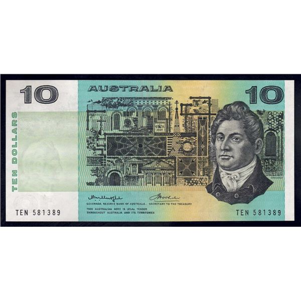 "AUSTRALIA $10. 1976. Knight-Wheeler. Centre Thread. RARE 1ST PREFIX ""TEN"""