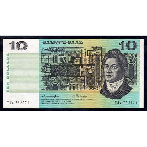 "AUSTRALIA $10. 1976. Knight-Wheeler. Centre Thread. VERY RARE LAST PREFIX ""TJV"""