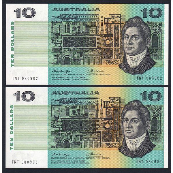 "AUSTRALIA $10. 1976. Knight-Wheeler. Side Thread. SCARCE WORD PREFIX ""TNT"" PAIR"