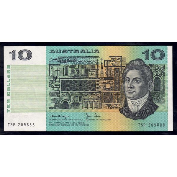 """AUSTRALIA $10. 1979. Knight-Stone. Gothic Serial. SCARCE LUCKY SERIAL NUMBER """"888"""""""