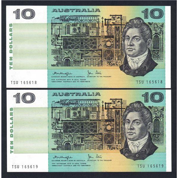 AUSTRALIA $10. 1979. Knight-Stone. Gothic Serial. CONSECUTIVE PAIR