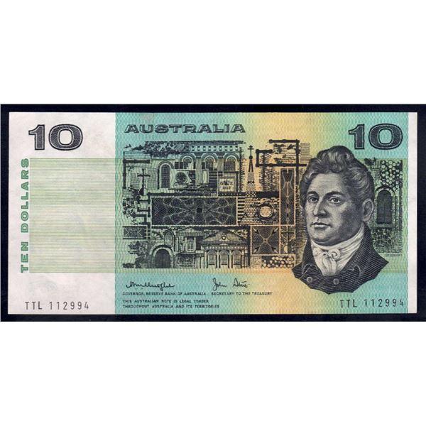 """AUSTRALIA $10. 1979. Knight-Stone. Gothic Serial. RARE LAST PREFIX """"TTL"""""""