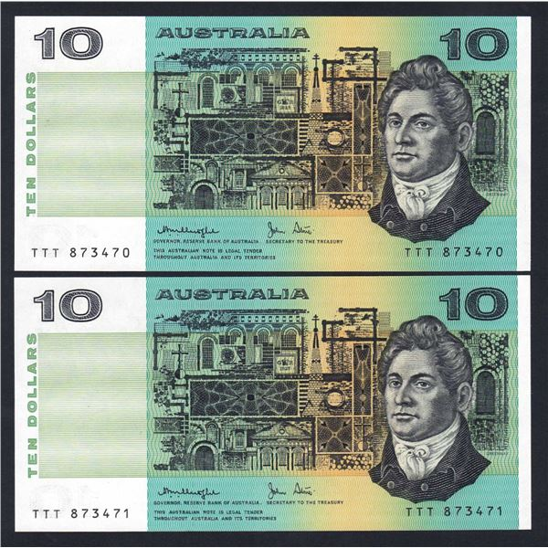 "AUSTRALIA $10. 1979. Knight-Stone. OCRB Serial. SOLID PREFIX ""TTT"" CONSECUTIVE PAIR"