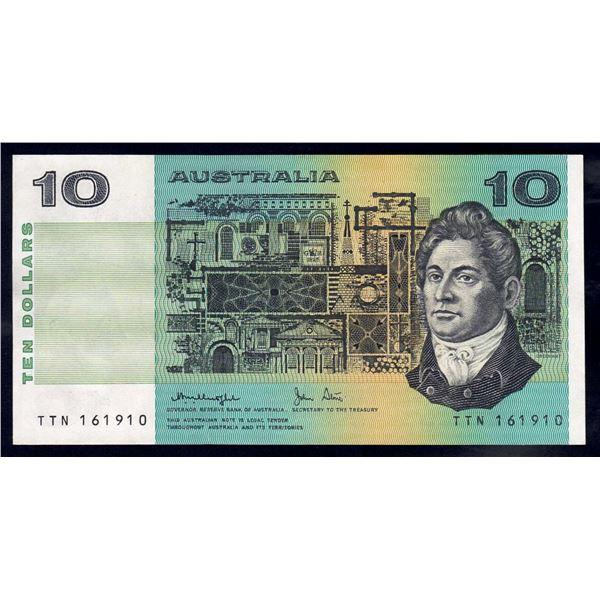 """AUSTRALIA $10. 1979. Knight-Stone. OCRB Serial. RARE 1ST PREFIX """"TTN"""""""