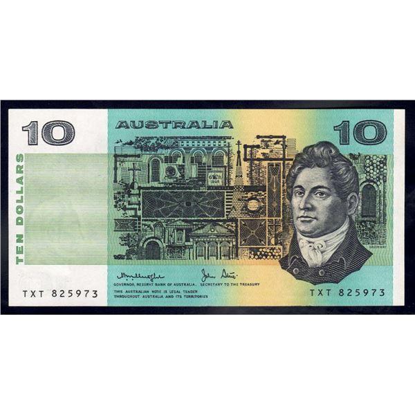 """AUSTRALIA $10. 1979. Knight-Stone. OCRB Serial. RARE LAST PREFIX """"TXT"""""""
