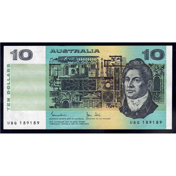"AUSTRALIA $10. 1983. Johnston-Stone. SCARCE REPEATER SERIAL NUMBER ""189189"""