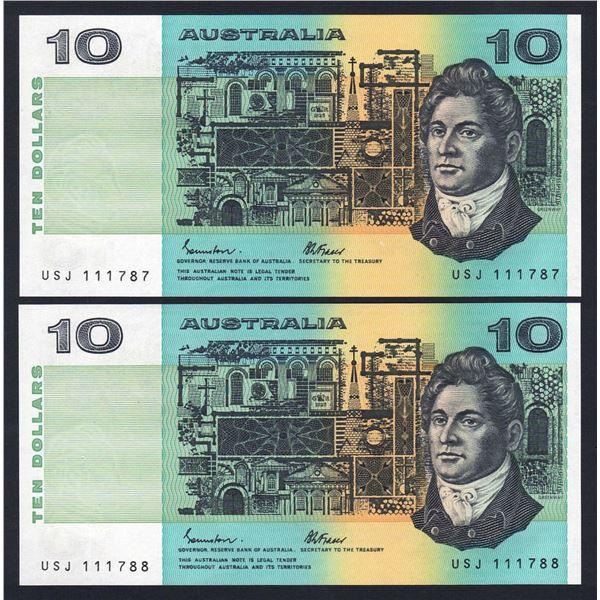 "AUSTRALIA $10. 1985. Johnston-Fraser. LUCKY SERIAL NUMBER ""111"" CONSECUTIVE PAIR"