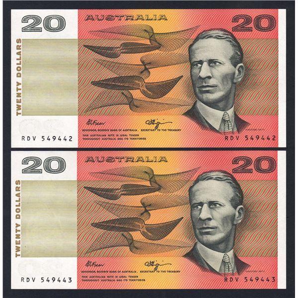 AUSTRALIA $20. 1989. Fraser-Higgins. Short Issue. CONSECUTIVE PAIR