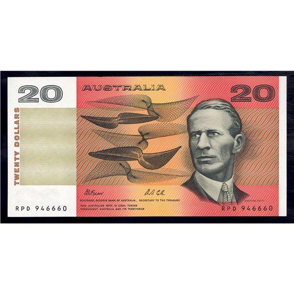 """AUSTRALIA $20. 1991. Fraser-Cole. DEVIL'S SERIAL NUMBER """"666"""""""