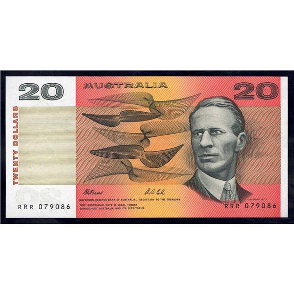 "AUSTRALIA $20. 1991. Fraser-Cole. SCARCE SOLID PREFIX ""RRR"""
