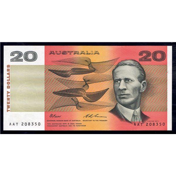"""AUSTRALIA $20. 1993. Fraser-Evans. WORD PREFIX """"AAT"""""""