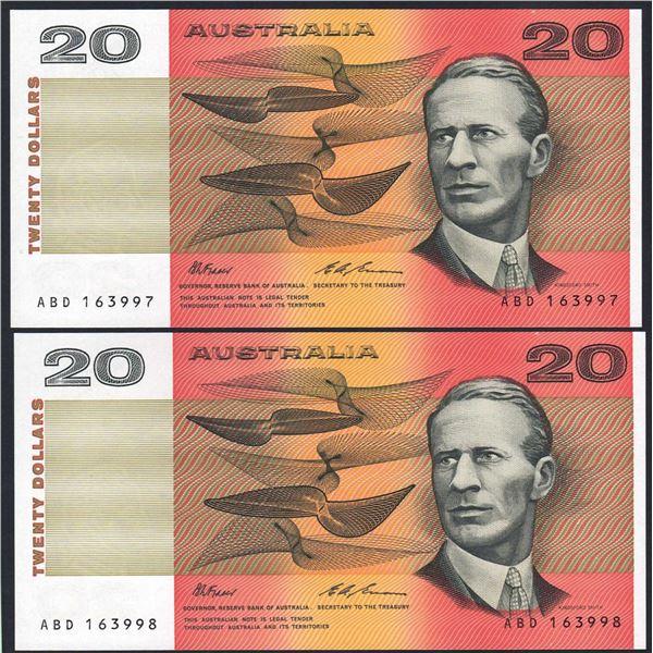 AUSTRALIA $20. 1993. Fraser-Evans. Last Peper Issue. CONSECUTIVE PAIR