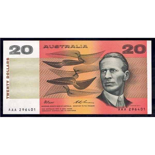 "AUSTRALIA $20. 1993. Fraser-Evans. Last Peper Issue. PREFIX ""AAA"" (Ex NPA)"