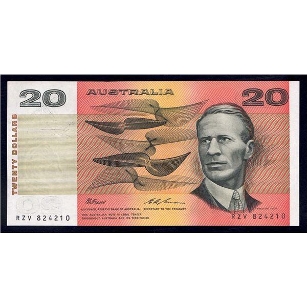"AUSTRALIA $20. 1993. Fraser-Evans. Last Peper Issue. SCARCE 1ST PREFIX ""RZV"""