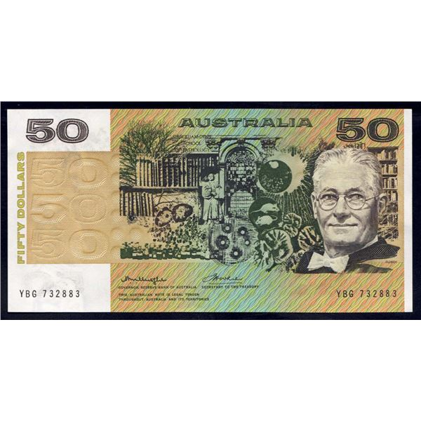 AUSTRALIA $50. 1975. Knight-Wheeler. CENTRE THREAD