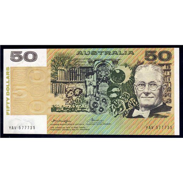 "AUSTRALIA $50. 1975. Knight-Wheeler. Centre. RARE 1ST PREFIX ""YAV"" + LUCKY NO ""777"""