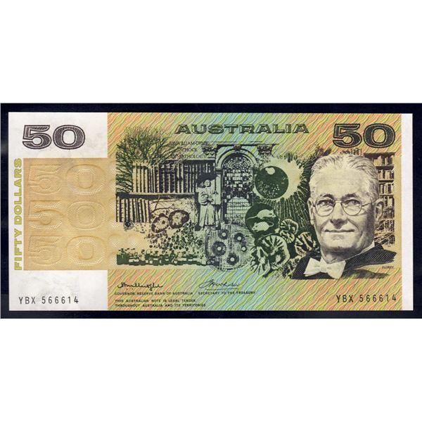 """AUSTRALIA $50. 1975. Knight-Wheeler. Centre. RARE LAST PREFIX """"YBX"""" + DEVIL'S NO """"666"""""""