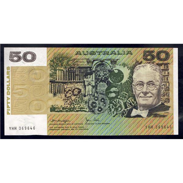"AUSTRALIA $50. 1979. Knight-Stone. SCARCE LAST PREFIX ""YHH"""
