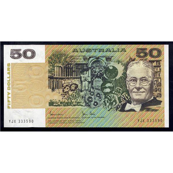 """AUSTRALIA $50. 1983. Johnston-Stone. LUCKY SERIAL NUMBER """"333"""""""