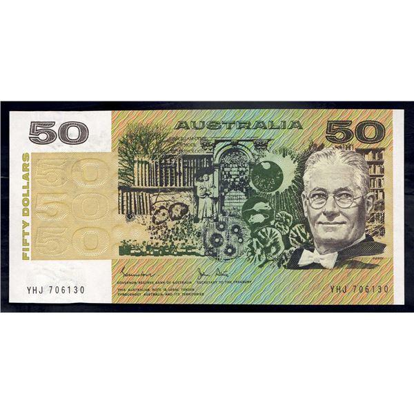 """AUSTRALIA $50. 1983. Johnston-Stone. RARE 1ST PREFIX """"YHJ"""""""