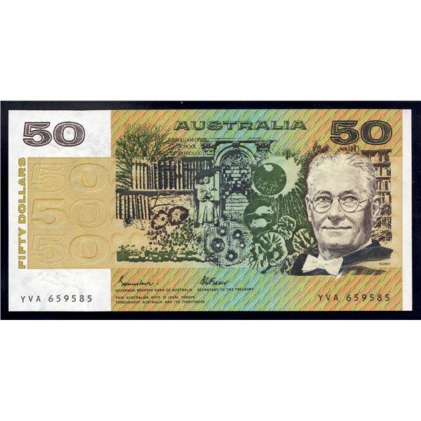 AUSTRALIA $50. 1985. Johnston-Fraser. ELUSIVE OCRB SERIAL