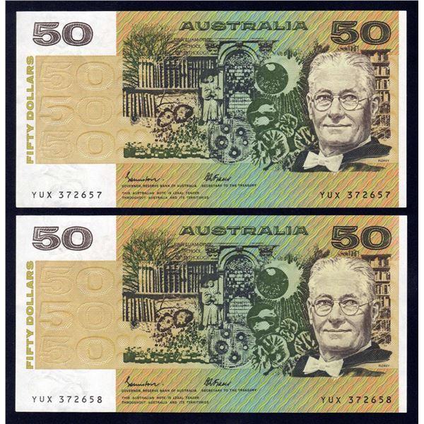 AUSTRALIA $50. 1985. Johnston-Fraser. OCRB Serial. CONSECUTIVE PAIR