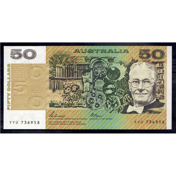 "AUSTRALIA $50. 1989. Phillips-Fraser. Short Issue. SCARCE LAST PREFIX ""YYU"""