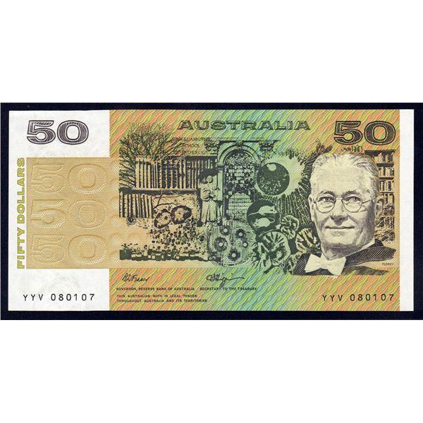 """AUSTRALIA $50. 1990. Fraser-Higgins. Short Issue. RARE 1ST PREFIX """"YYV"""""""
