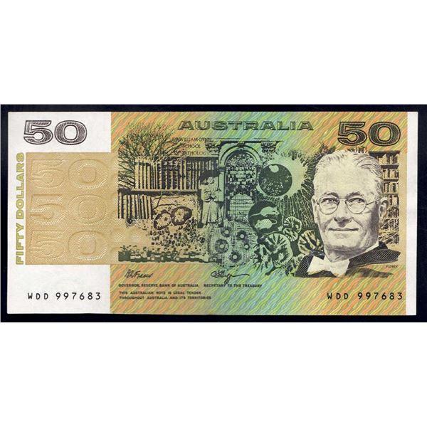 "AUSTRALIA $50. 1990. Fraser-Higgins. Short Issue. RARE LAST PREFIX ""WDD"""