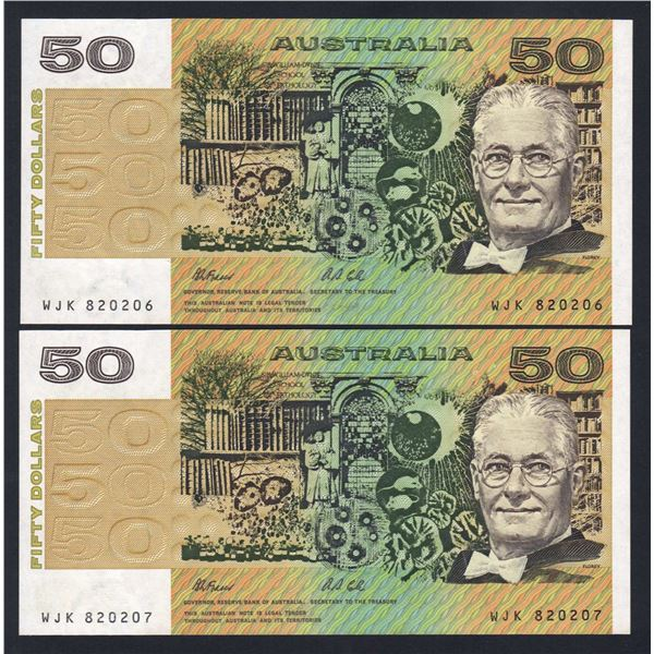 AUSTRALIA $50. 1991. Fraser-Cole. Without PIL. CONSECUTIVE PAIR