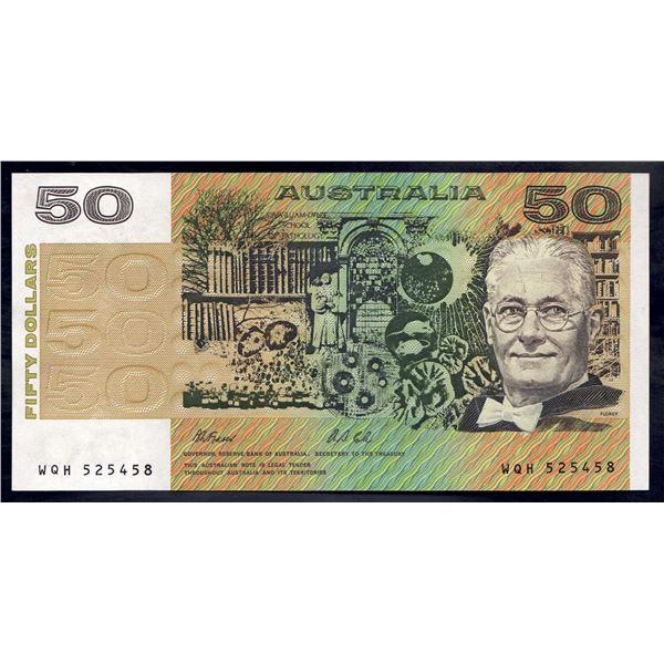 """AUSTRALIA $50. 1991. Fraser-Cole. Without PIL. ELUSIVE LAST PREFIX """"WQH"""""""