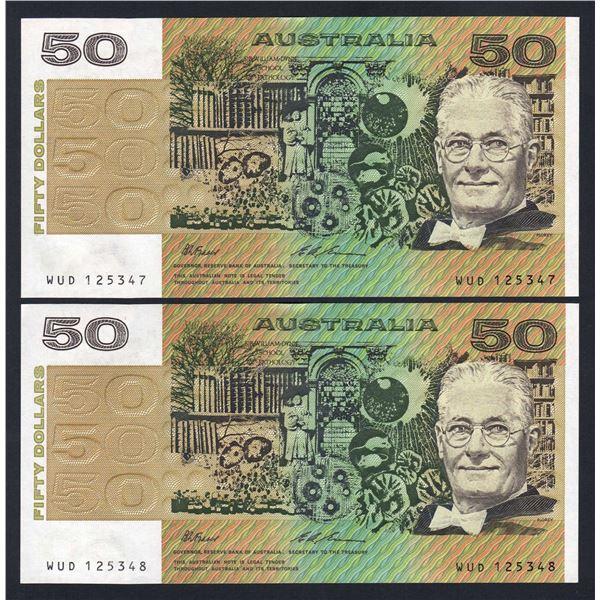 AUSTRALIA $50. 1993. Fraser-Evans. CONSECUTIVE PAIR
