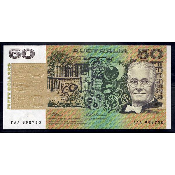 "AUSTRALIA $50. 1993. Fraser-Evans. SCARCE PREFIX ""FAA"""