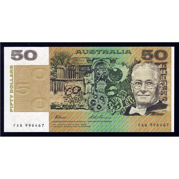 "AUSTRALIA $50. 1993. Fraser-Evans. SCARCE LAST PREFIX ""FAB"""