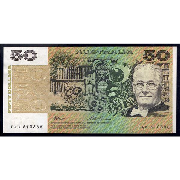 "AUSTRALIA $50. 1993. Fraser-Evans. SCARCE LAST PREFIX ""FAB"" + LUCKY SERIAL NO ""888"""