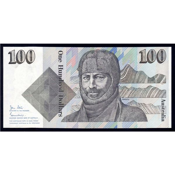 AUSTRALIA $100. 1984. Johnston-Stone. 1ST DECIMAL ISSUE