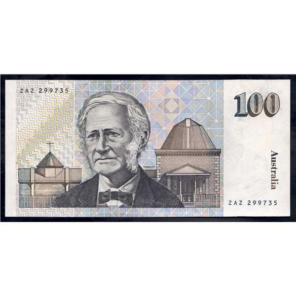 """AUSTRALIA $100. 1984. Johnston-Stone. FANCY PREFIX """"ZAZ"""""""